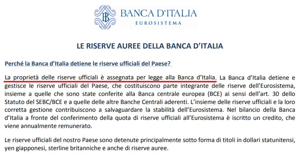 Стр. 1 от ръководството за златните резерви на Banca d'Italia от 2014 г